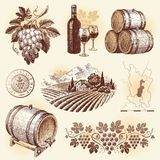 拉长的现有量集合酒葡萄酒酿造 库存图片