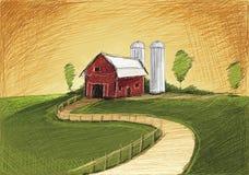 拉长的红色农场 库存照片