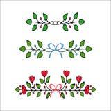 拉长的要素花卉现有量 套花和装饰元素 免版税库存图片