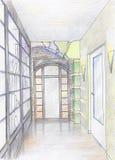 拉长的走廊现有量草图 库存照片