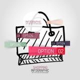 拉长的购物袋设计和infographics 免版税库存图片