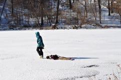 拉雪橇的人员 免版税库存图片