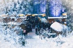 拉韦纳峡谷,德国- 2017年12月3日:传统圣诞节 库存照片