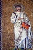 拉韦纳,意大利-从联合国科教文组织的1500 8月18日, 2015年-岁拜占庭式的马赛克在拉韦纳, I列出了圣徒Vitalis大教堂  库存照片