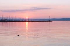 巴拉顿湖在Siofok,匈牙利 免版税库存图片