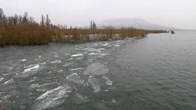 从巴拉顿湖的美好的冬天风景 股票视频