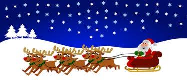拉驯鹿圣诞老人 免版税图库摄影