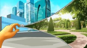 拉练打开都市人民的另一个世界 免版税库存照片