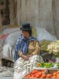 拉巴斯,玻利维亚- 1月, 10 :在拉巴斯o街道的Cholita  库存照片