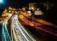 拉巴特市在晚上 库存照片
