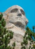 拉什莫尔山全国纪念雕塑乔治・华盛顿关闭 库存图片