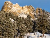 拉什莫尔山在冬天 免版税库存照片