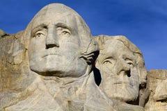 拉什莫尔山纪念碑、华盛顿和杰斐逊 库存图片