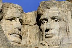 拉什莫尔山纪念碑、罗斯福和林肯 免版税库存图片