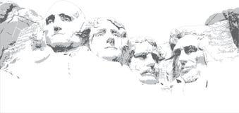 拉什莫尔山线描 免版税库存图片