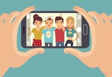 拍与智能手机的年轻朋友少年照片 友谊传染媒介概念 皇族释放例证