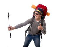 拍与棍子运载的背包的年轻atractive旅客背包徒步旅行者selfie照片准备好冒险 免版税库存照片