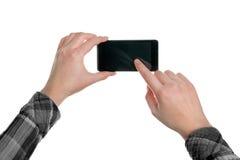 拍与流动巧妙的电话的照片 免版税库存图片