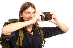 拍与照相机的人旅游背包徒步旅行者照片 库存照片