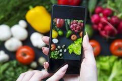 拍健康食物的照片与她的智能手机的女孩 素食主义者f 库存图片