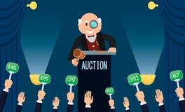 拍卖人和出价 传染媒介平的例证 向量例证