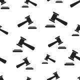 拍卖锤子无缝的样式背景 企业平的传染媒介 免版税库存图片