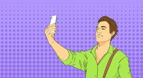 拍在聪明的电话流行艺术五颜六色的减速火箭的样式的人Selfie照片 库存图片