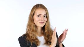 拍手的女实业家,欣赏,画象,白色背景 免版税库存图片