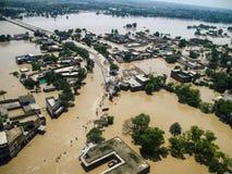 拍打谷,巴基斯坦洪水 免版税库存照片
