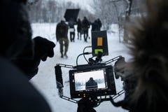 拍摄一部王牌电影,后台在街道视图的集合从照相机 库存照片