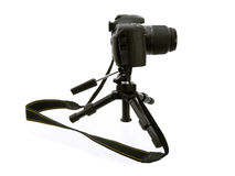 拍摄三脚架的黑色照相机 图库摄影