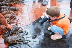 拍摄在海鲜市场上的男孩 库存图片