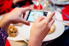 拍摄在餐馆的食物 免版税库存照片