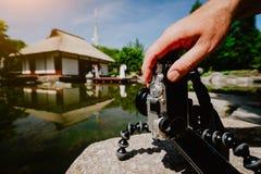 拍摄处理在三脚架的男性手一台老葡萄酒照相机在有地标日本房子的水池前面和 免版税库存照片