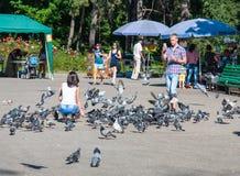 拍摄妇女的人喂养鸽子 免版税库存图片
