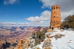 拍摄沙漠视图城楼在冬天 免版税库存图片