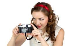 拍摄的妇女的图象有减速火箭的照相机的 库存照片