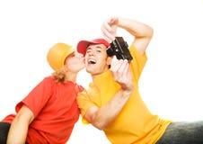 拍摄年轻人的夫妇 免版税库存照片