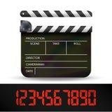 拍板传染媒介 数字式影片电影有红色数字式数字的拍板 免版税库存图片