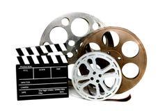 拍板影片电影生产装罐白色 库存照片
