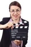 拍板电影妇女 免版税库存图片