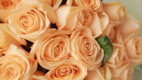 轻拍桃子玫瑰大花束,特写镜头 影视素材