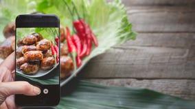 拍照片由按在照片的T智能手机的手指 免版税图库摄影