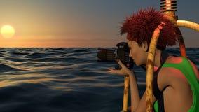 拍照片的女性摄影师在日落 库存图片