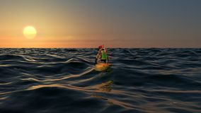 拍照片的女性摄影师在距离的日落 库存图片
