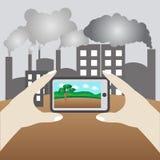 拍照片要是树,概念救球地球 免版税图库摄影
