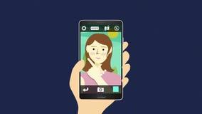 拍照片, selfie妇女的画象,使用巧妙的电话 股票视频