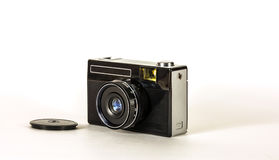 拍的照片减速火箭的照相机在轻的背景的影片 库存图片