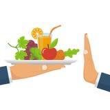 拒绝被提供的健康食物 废物未加工的食物 皇族释放例证
