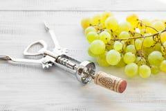 拔塞螺旋、葡萄和酒黄柏 免版税图库摄影